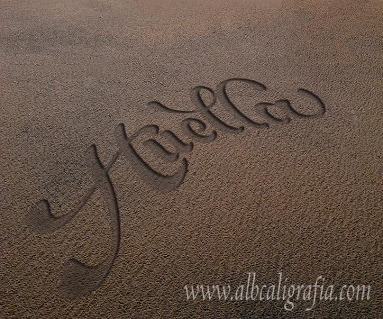 Palabra Huella marcada en la arena