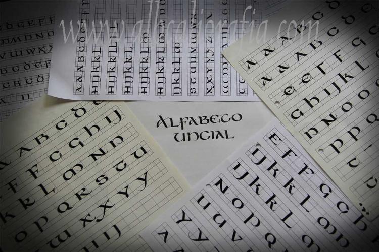 Hojas de ejercicios de letra uncial