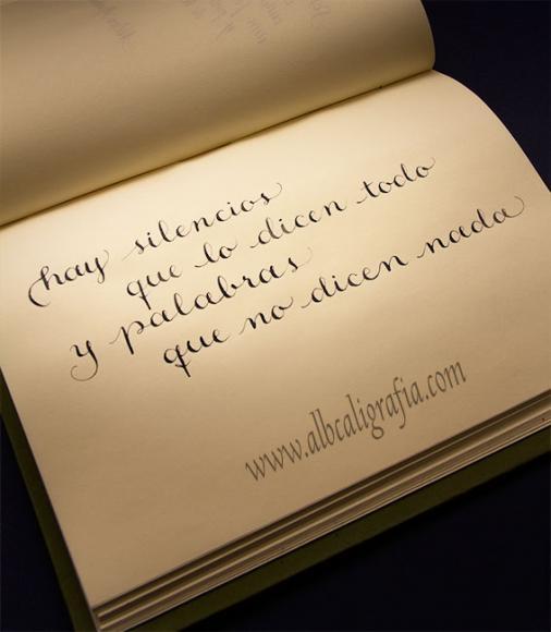 Texto caligrafico, hay silencios que lo dicen todo y palabras que no dicen nada