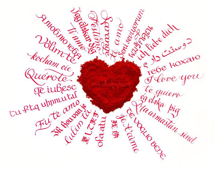 Corazón de polvo con texto Te amo en varios idiomas