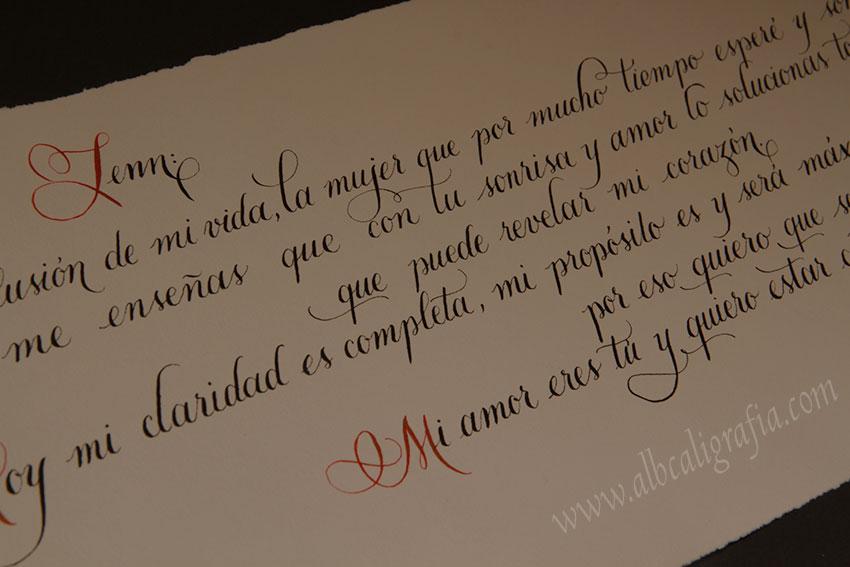 Declaración de amor escrita en caligrafía
