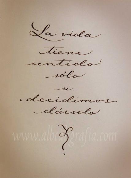 Texto caligráfico: la vida tiene sentido sólo si decidimos dárselo