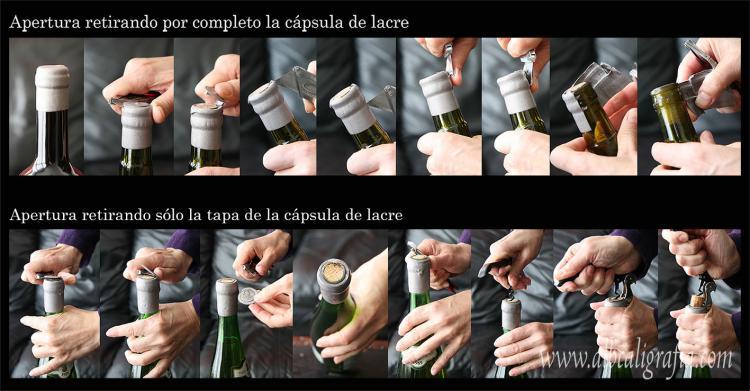 Apertura de botella con lacre BIO marca ALB