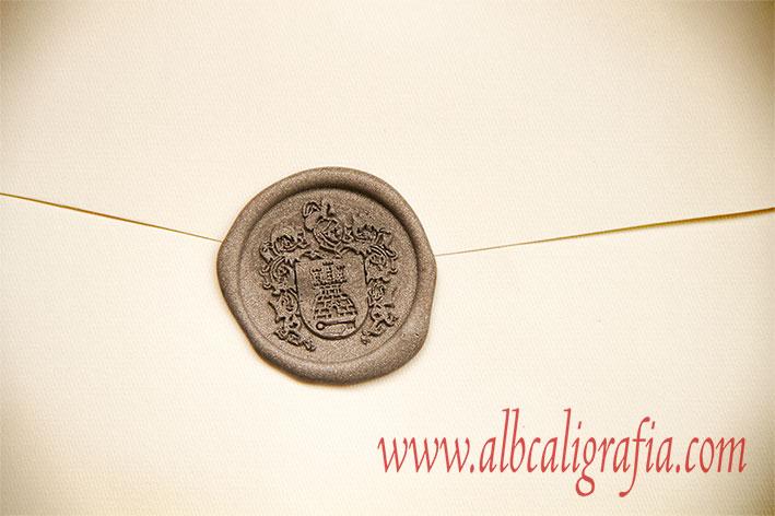 Sello de lacre plata con escudo