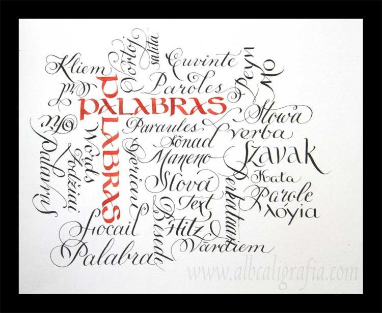 Caligrafía de la palabras en diferentes idiomas