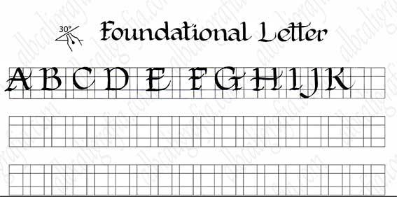 Plantilla para practicar caligrafía de letra fundacional mayúsculas de la A a la K