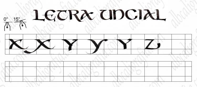 Plantilla para practicar caligrafía de letra uncial