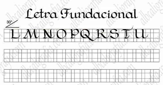 Plantilla para practicar caligrafía de letra fundacional mayúsculas de la L a la U