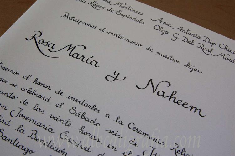 Caligrafía para invitación de bodas