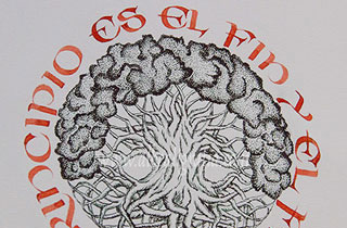 Árbol con raíces y ramas entrelazadas rodeado por texto  El principio es el fin y el fin es el principio