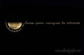 Luna menguante con texto caligráfico, cucharadas de luna para menguar la soledad