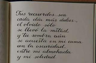 Texto de Serrat sobre el recuerdo de Lucía escrito en caligrafía