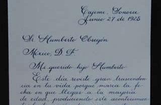 Transcripción de la primera parte de la carta del General Obregón a su hijo Humberto