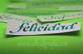 Palabra felicidad escrita en caligrafía sobre un fondo verde