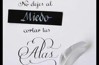 Texto caligráfico no dejes que al miedo cortar tus alas