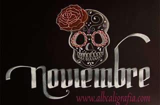 Palabra noviembre decorada con una calavera típica de la celebración del día de muertos.