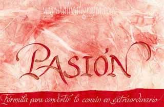 Texto caligráfico sobre la pasión