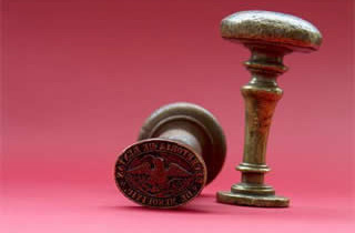 Sello antiguo para tinta y sello para lacrar