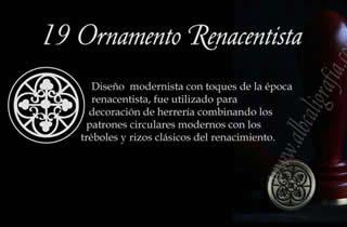 Sello para lacrar con diseño de ornamento renacentista